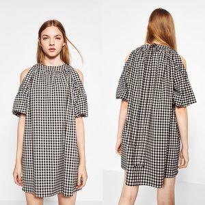 Zara Full Gingham Check Cold Shoulder Dress